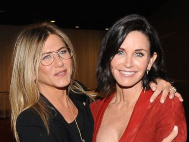 PHOTO: Actresses Jennifer Aniston and director Courteney Cox attend the Los Angeles Special Screening of Just Before I Go at ArcLight Hollywood, on April 20, 2015, in Hollywood, California.