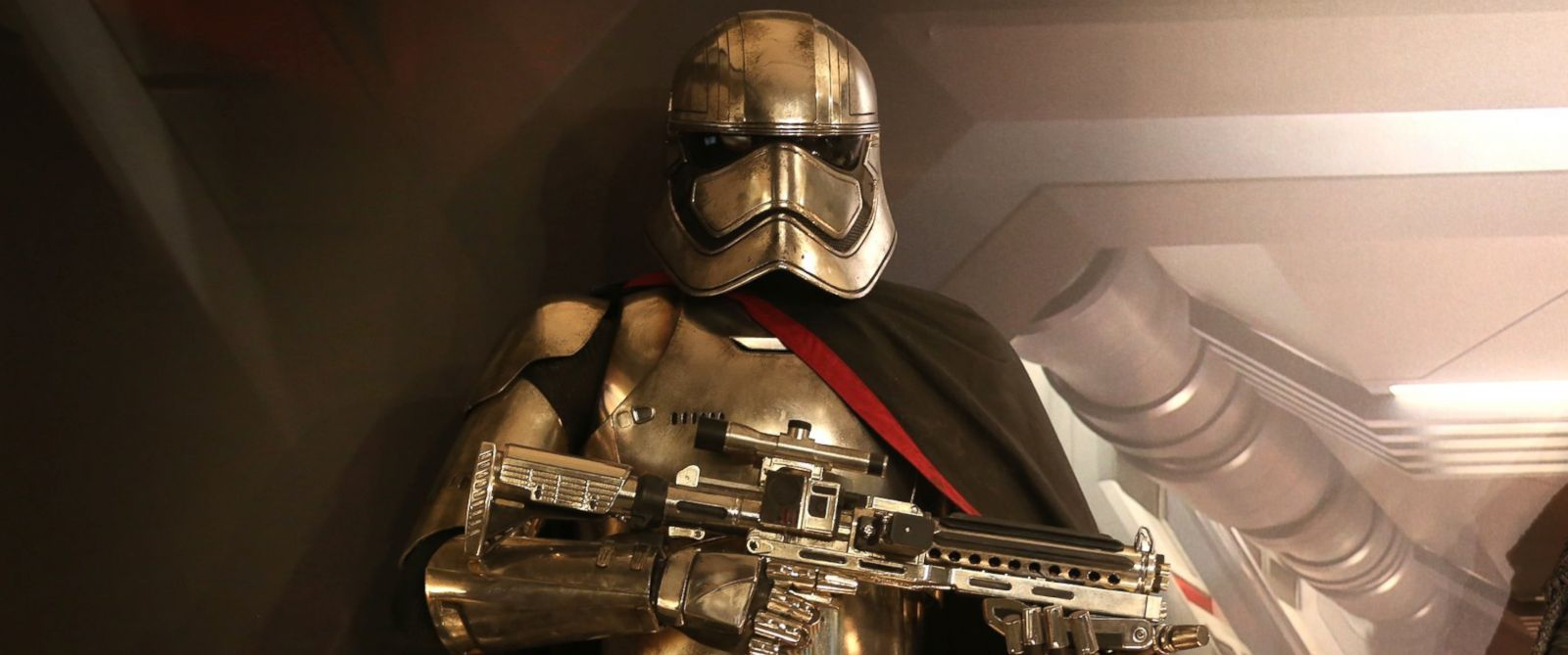 "PHOTO: A replicas on display of Star Wars character Captain Phasma, that will be in the new Star Wars film, ""The Force Awakens"" on Dec. 3, 2015 in Toronto."