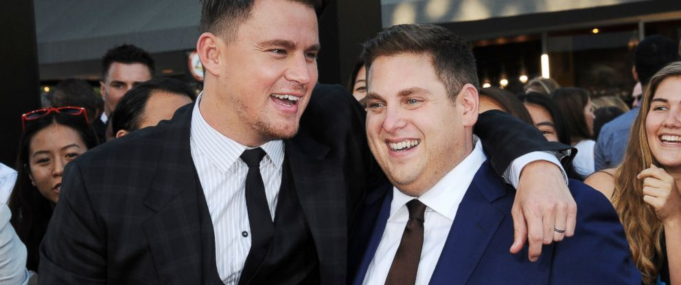 """PHOTO: Actors Channing Tatum and Jonah Hill arrive for the Premiere Of Columbia Pictures """"22 Jump Street"""" held at Regency Village Theatre, June 10, 2014, in Westwood, Calif."""