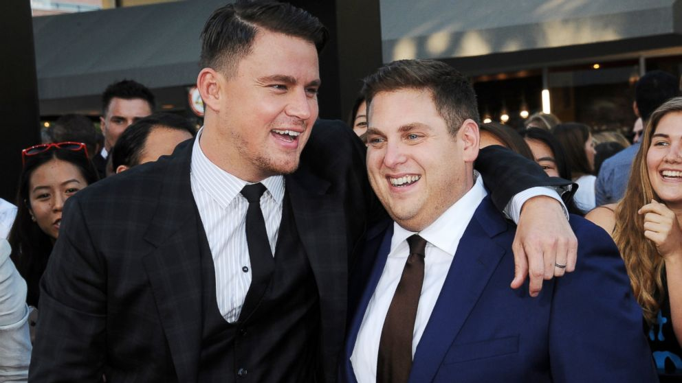 "PHOTO: Actors Channing Tatum and Jonah Hill arrive for the Premiere Of Columbia Pictures ""22 Jump Street"" held at Regency Village Theatre, June 10, 2014, in Westwood, Calif."