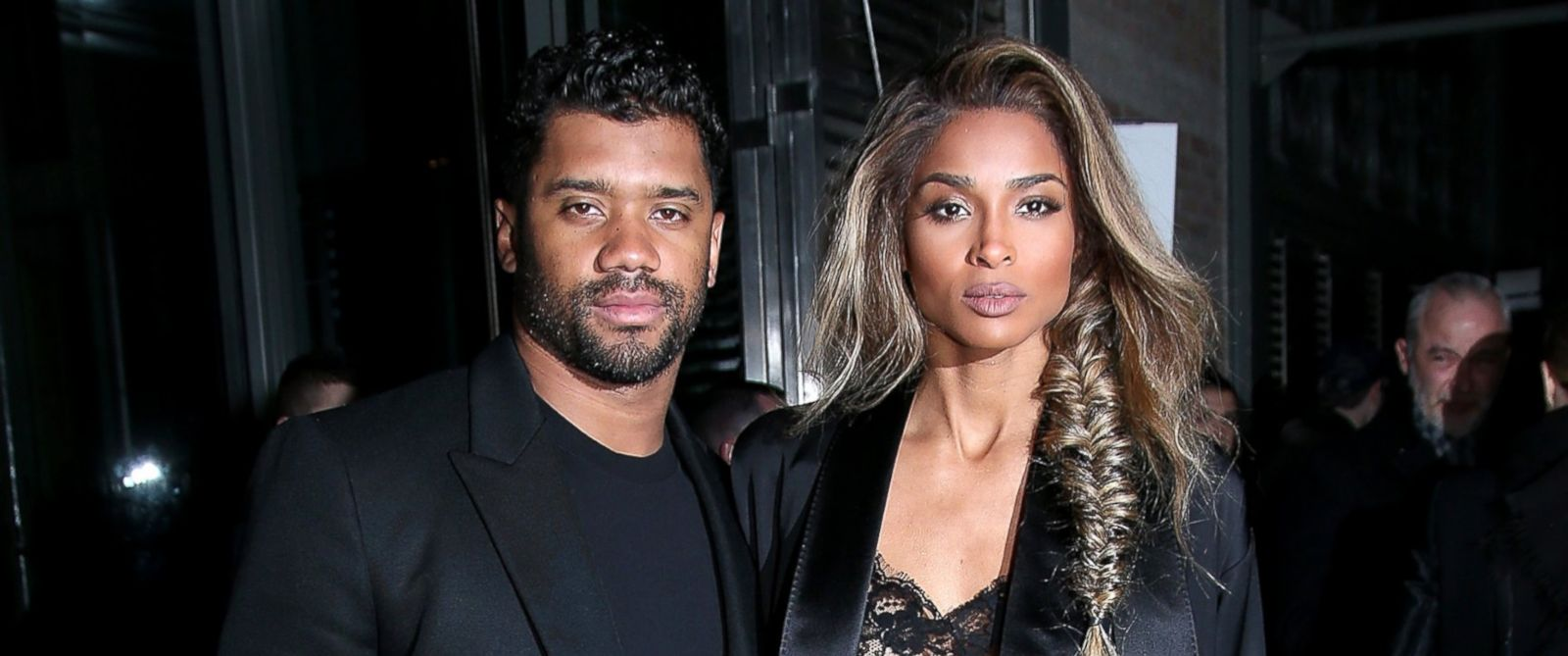 PHOTO: Russell Wilson and Ciara arrive at the Givenchy show as part of the Paris Fashion Week, March 6, 2016 in Paris, France.