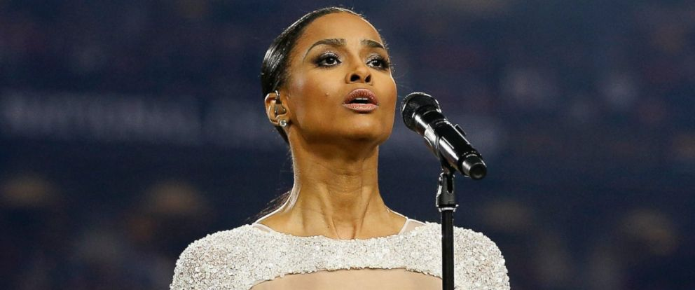 PHOTO: Singer Ciara sings the national anthem prior to the start of the 2016 College Football Playoff National Championship Game, Jan. 11, 2016 in Glendale, Arizona.