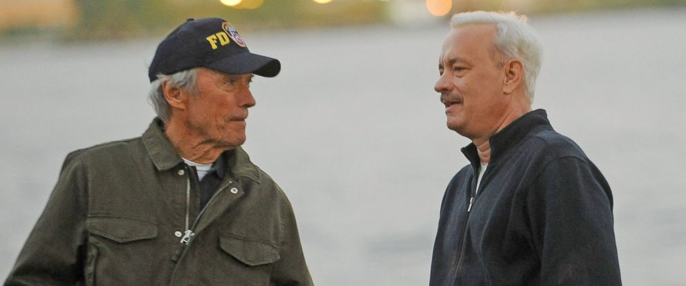 """PHOTO: Director Clint Eastwood and actor Tom Hanks on the set of """"Sully"""" Oct. 7, 2015, in New York."""