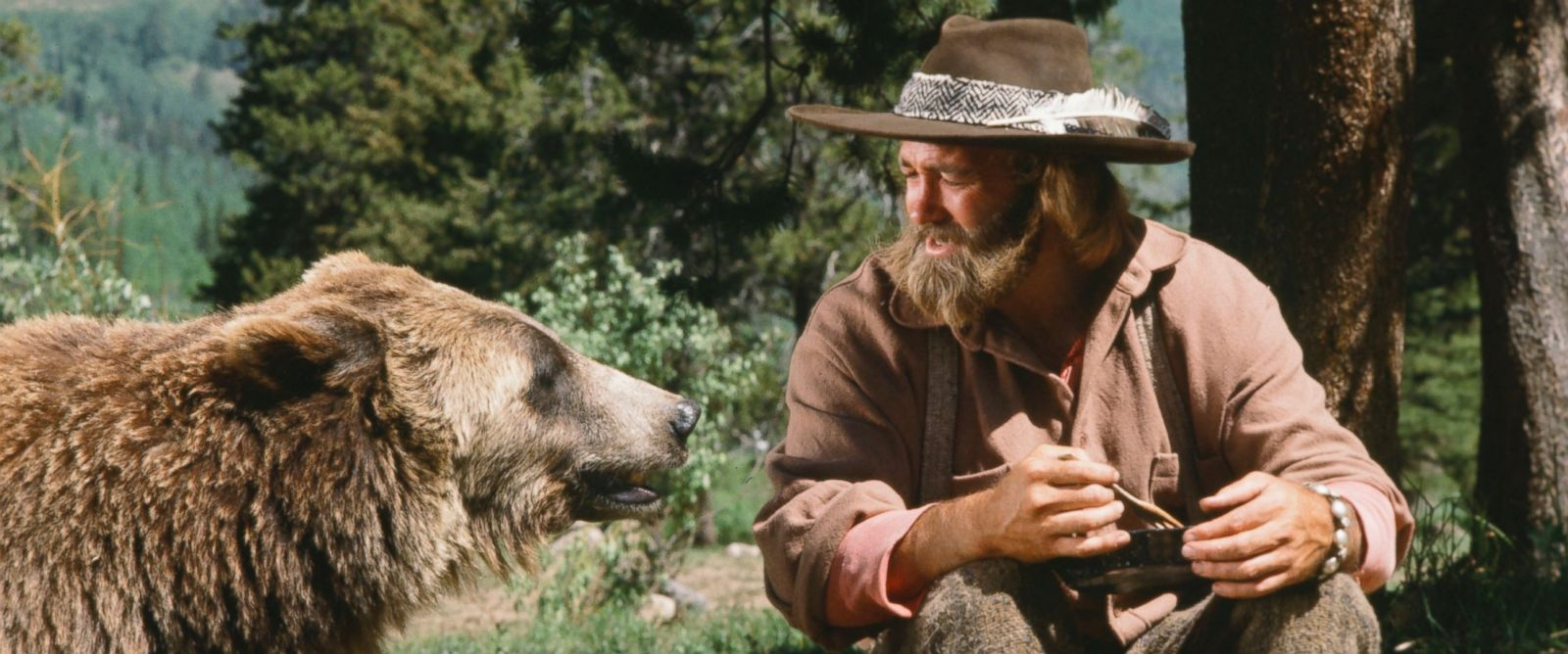 "PHOTO: Pictured in this undated photo is Bozo the Bear as Ben and Dan Haggerty as James Grizzly Adams in the TV show ""The Life and Times of Grizzly Adams"" in the episode, ""A Bears Life."""