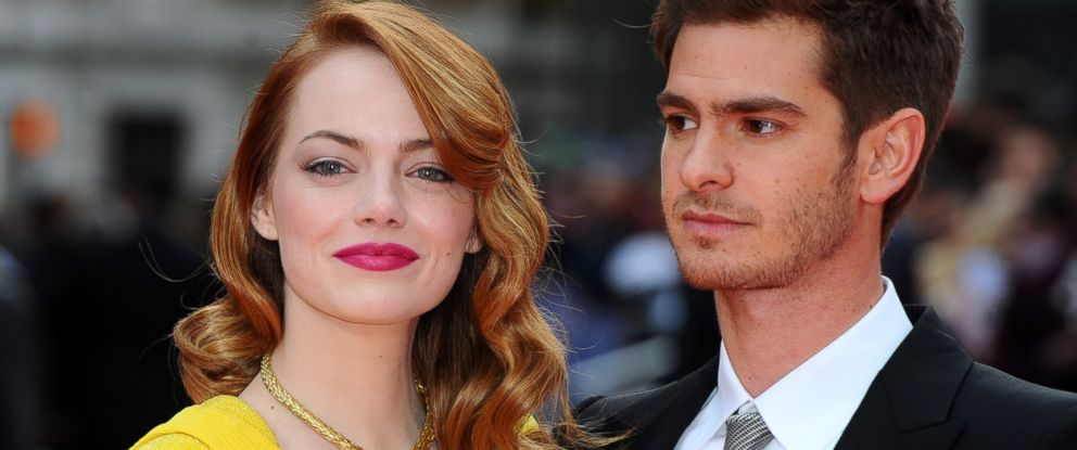 """PHOTO: Emma Stone and Andrew Garfield attend the World Premiere of """"The Amazing Spider-Man 2"""" at Odeon Leicester Square, April 10, 2014 in London."""