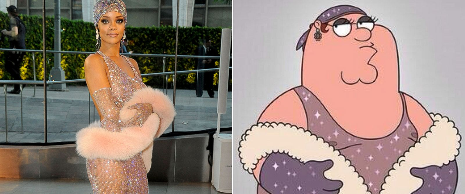 PHOTO: Rihanna, left, attends the CDFA Awrads, June 2, 2014, in New York CIty. Peter Griffin, from Family Guy mimics Rihannas dress.
