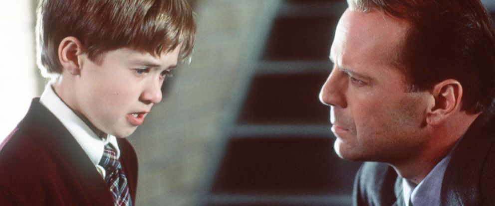 "PHOTO: Bruce Willis, as child psychologist Dr. Malcolm Crowe, and Haley Joel Osment, as Cole Sear, in a scene from the movie ""The Sixth Sense."""