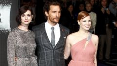 Anne Hathaway, Matthew McConaughey and Jessica Chastain Strike a Pose