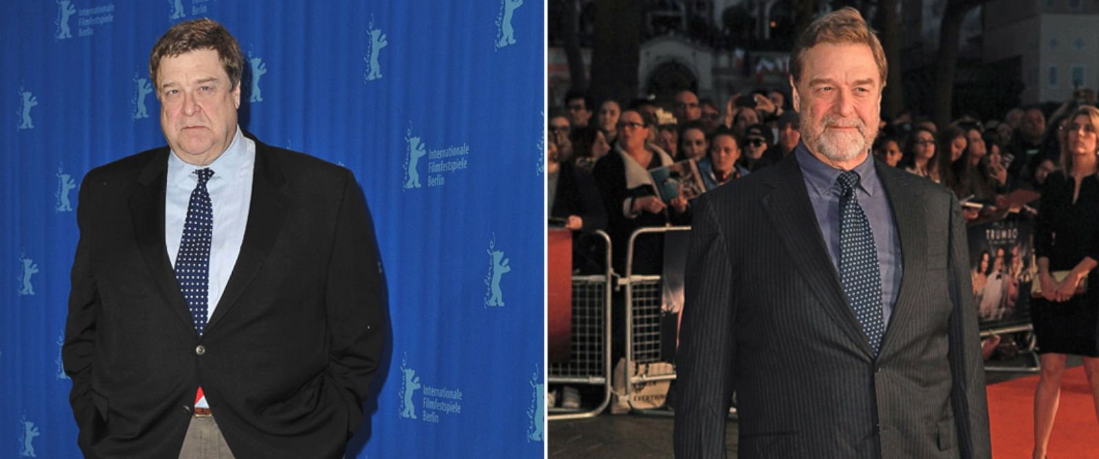 PHOTO: Before and after images of actor John Goodman on Feb. 7, 2009 in Berlin and again on Oct. 8, 2015 in London.