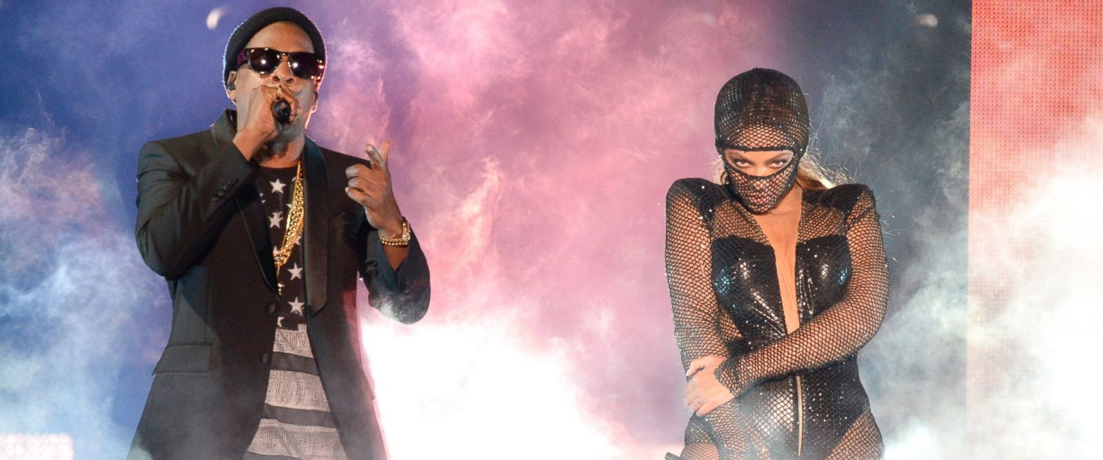 "PHOTO: Jay-Z and Beyonce perform during opening night of the ""On The Run Tour: Beyonce And Jay-Z"" at Sun Life Stadium, June 25, 2014, in Miami Gardens, Fla."