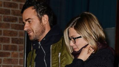 Jennifer Aniston Reunites with Justin Theroux in NYC