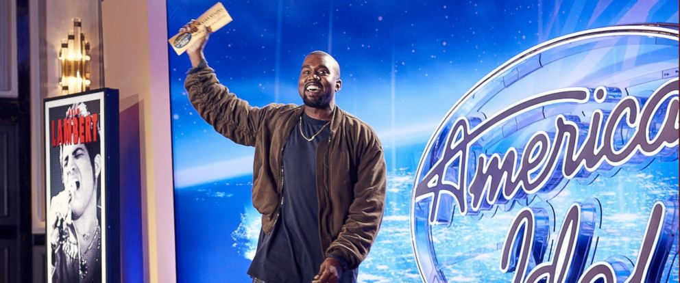 PHOTO: Kanye West shows off his Golden Ticket from the auditions of American Idol on Oct. 10, 2015 in San Francisco.