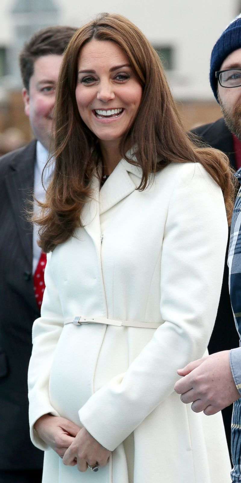 Duchess Kate Shows Off Her Growing Bump in a White Coat ...