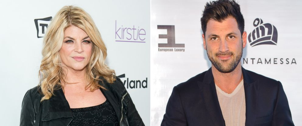 "PHOTO: Left, Actress Kirstie Alley attends the ""Kirstie"" series premiere party at Harlow in this Dec. 3, 2013, file photo in New York City; right, Maksim Chmerkovskiy attends the 2014 Cantamessa Collection Preview on June 5, 2014 in Chicago, Illinois."