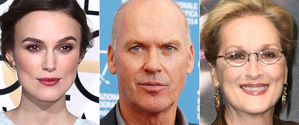 PHOTO: Keira Knightley, Michael Keaton and Meryl Streep received Oscar nominations.