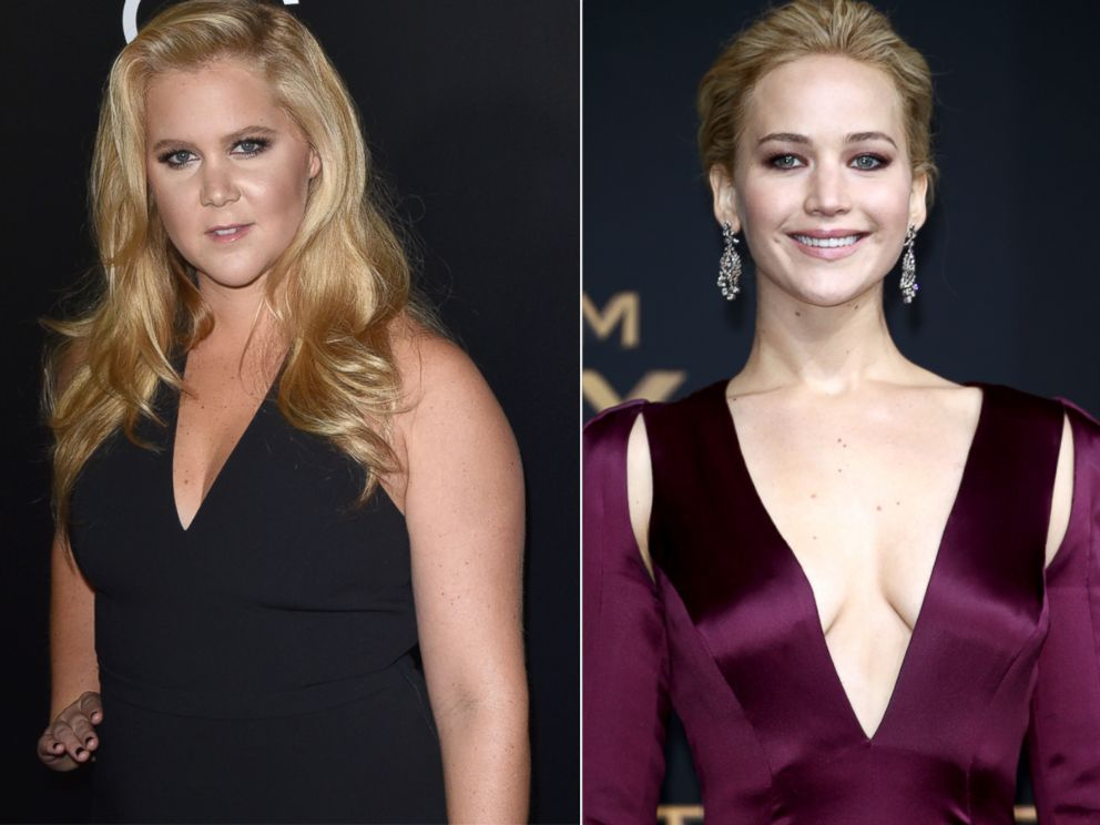 PHOTO:Amy Schumer attends the 19th Annual Hollywood Film Awards, Nov. 1, 2015, in Beverly Hills, Calif. Right, Jennifer Lawrence attends the world premiere of the film The Hunger Games: Mockingjay - Part 2, Nov. 4, 2015, in Berlin.