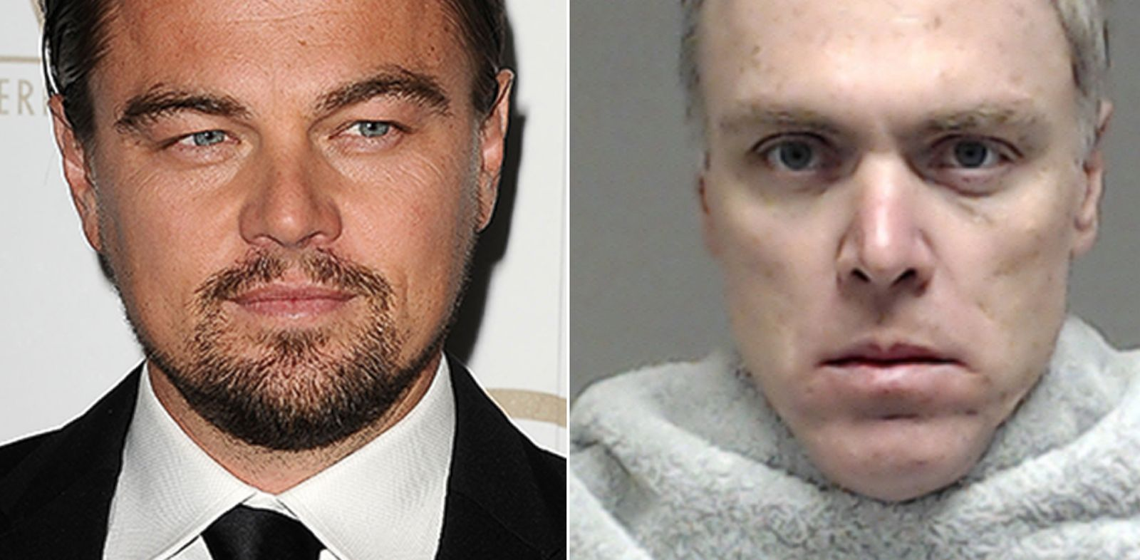 PHOTO: Adam Star Farrar is seen here in this mug shot, right, who was arrested, Jan. 24, 2014. He is the stepbrother of Leonardo DiCaprio seen here at The Beverly Hilton Hotel, Jan. 19, 2014 in Beverly Hills, Calif.