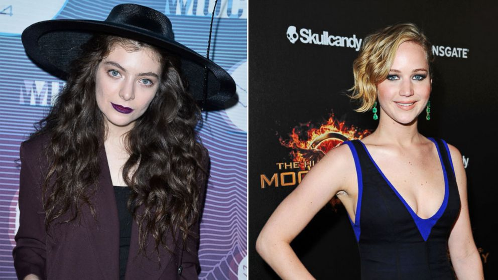 PHOTO: Lorde, left, in Toronto, Canada on June 15, 2014 and Jennifer Lawrence, right, in Cannes, France on May 17, 2014.