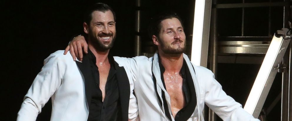 """PHOTO: Maks Chmerkovskiy and Val Chmerkovskiy perform in Maks & Val """"Live on Tour: Our Way"""" at The Beacon Theatre, July 8, 2016, in New York."""