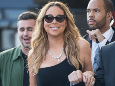 Mariah Carey Arrives at Jimmy Kimmel Live! in a Slinky Gown