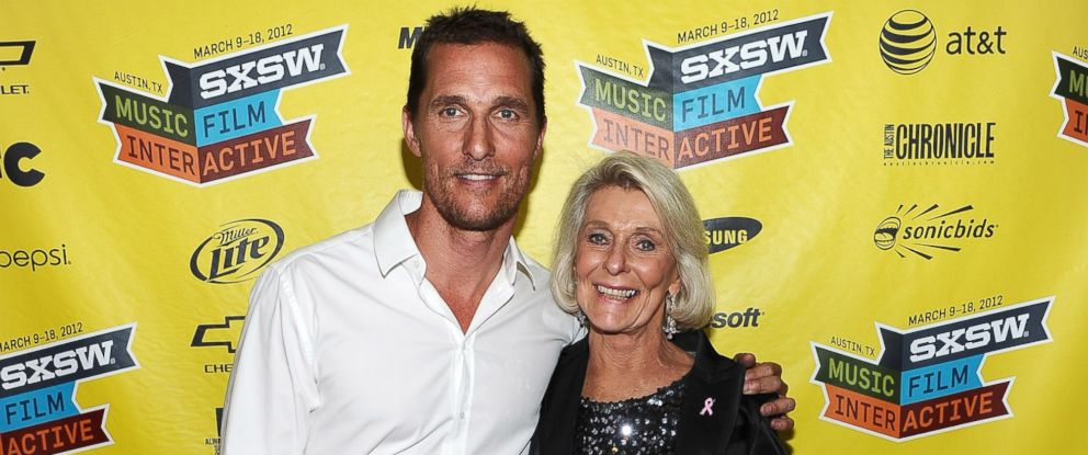 "PHOTO: Actor Matthew McConaughey, left, and mother Kay McConaughey attend the world premiere of ""Bernie"" during the 2012 SXSW Music, Film + Interactive Festival at Paramount Theatre in this March 13, 2012, file photo."