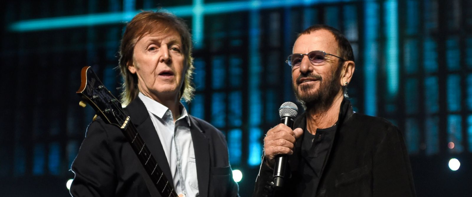PHOTO: Paul McCartney and Ringo Starr during rehearsals for the 30th Annual Rock And Roll Hall Of Fame Induction Ceremony at Public Hall, on April 18, 2015, in Cleveland.