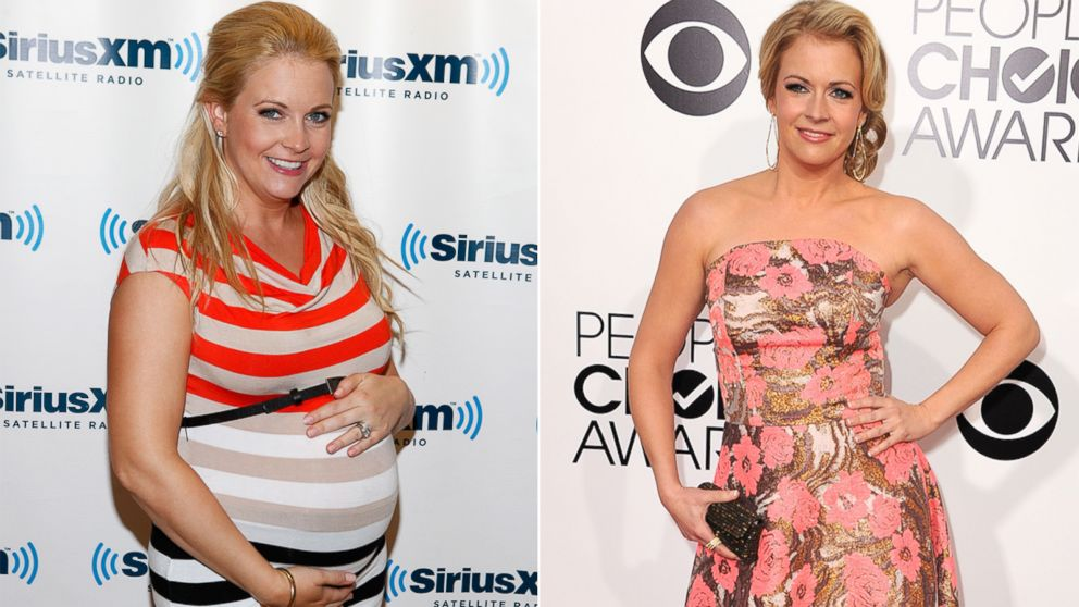 PHOTO:  Melissa Joan Hart, seen left at the SiriusXM Studio on May 30, 2012, and at right, at The 40th Annual Peoples Choice Awards at Nokia Theatre LA Live o