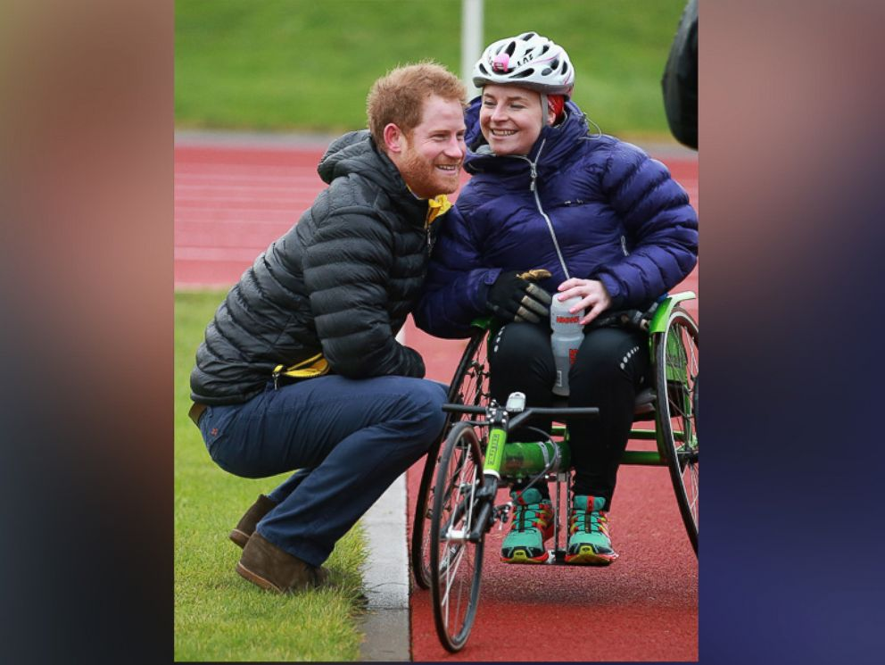 PHOTO: Prince Harry chats to Anna Pollack (RAF medic) a competitor at the Invictus Games Orlando British team trials at the University of Bath on Jan. 29, 2016 in Bath, England.