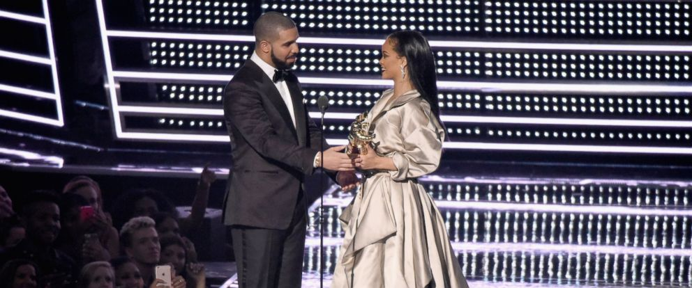 PHOTO: Drake presents the VMA Lifetime Achievement Award to Rihanna onstage during the 2016 MTV Video Music Awards at Madison Square Garden, on Aug. 28, 2016, in New York City.