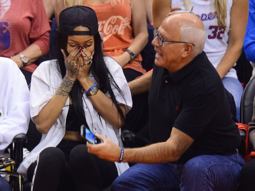 PHOTO: Rihanna attends an NBA playoff game between the Oklahoma City Thunder and the Los Angeles Clippers on May 9, 201.