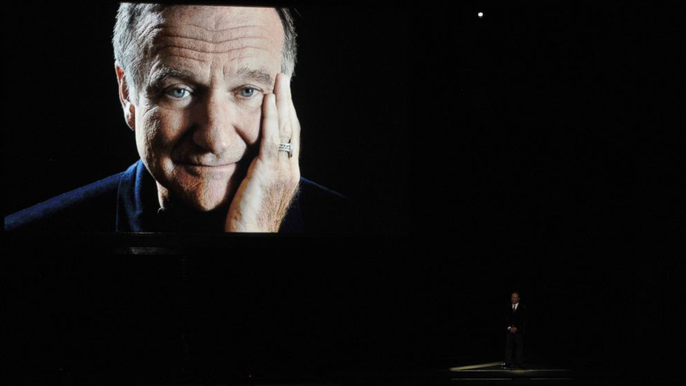 PHOTO: Comedian Billy Crystal, right, pays tribute to the late Robin Williams onstage at the 66th Annual Primetime Emmy Awards held at Nokia Theatre L.A. Live on Aug. 25, 2014 in Los Angeles, Calif.