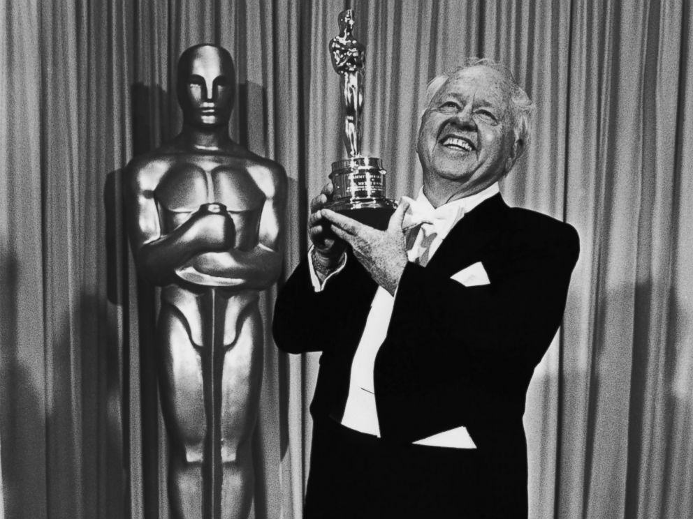 PHOTO: Film actor Mickey Rooney poses with the Lifetime Achievement Academy Award backstage, following his acceptance speech, at the 1982 Academy Awards in Los Angeles, California.