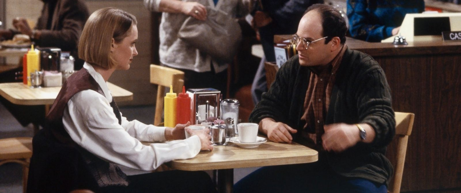 "PHOTO: Heidi Swedberg as Susan Ross and Jason Alexander as George Costanza in ""Seinfeld."""