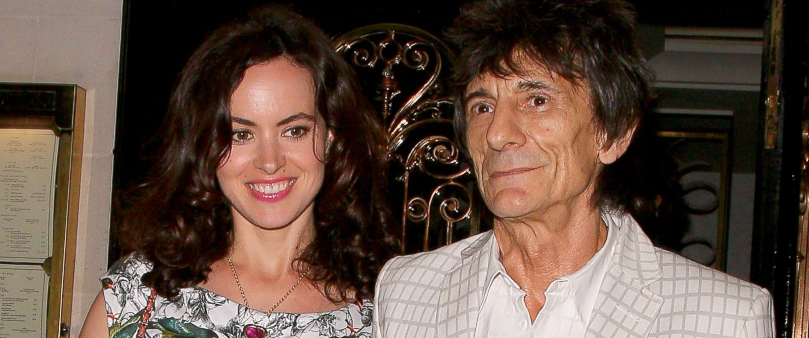 PHOTO: Ronnie Wood and Sally Humphreys at Scotts restaurant, July 16, 2014, in London.