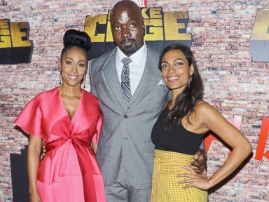 PHOTO: Actors Simone Missick, Mike Colter and Rosario Dawson attend the Luke Cage New York premiere at AMC Magic Johnson Harlem, Sept. 28, 2016, in New York.