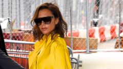 Victoria Beckham Steps Out in Yellow