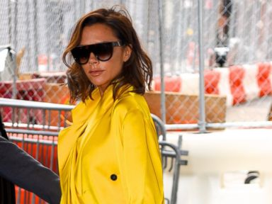 Photos:  Victoria Beckham Steps Out in Yellow