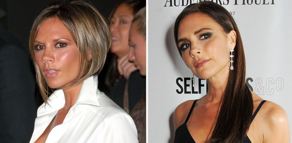 PHOTO: Victoria Beckham seen left during the Olympus Fashion Week Spring 2007 and seen right at the Harpers Bazaar Women of the Year awards on Nov. 5, 2013.