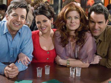 PHOTO: Sean Hayes as Jack McFarland, Megan Mullally as Karen Walker, Debra Messing as Grace Adler and Eric McCormack as Will Truman in Will & Grace.