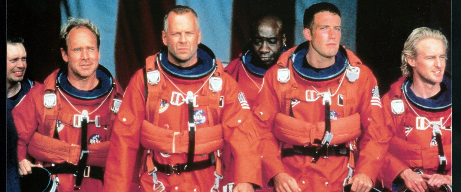 "PHOTO: Steve Buscemi, Will Patton, Bruce Willis, Michael Clarke Duncan, Ben Affleck, and Owen Wilson in a scene from the film ""Armageddon."""
