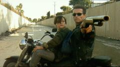 "PHOTO: Edward Furlong, left, and Arnold Schwarzenegger in a scene from ""Terminator 2: Judgement Day."""