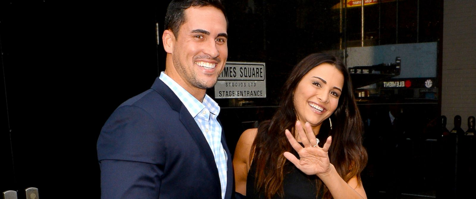 "PHOTO: Andi Dorfman and Josh Murray from The Bachelorette are seen leaving ""Good Morning America""on July 29, 2014 in New York City."