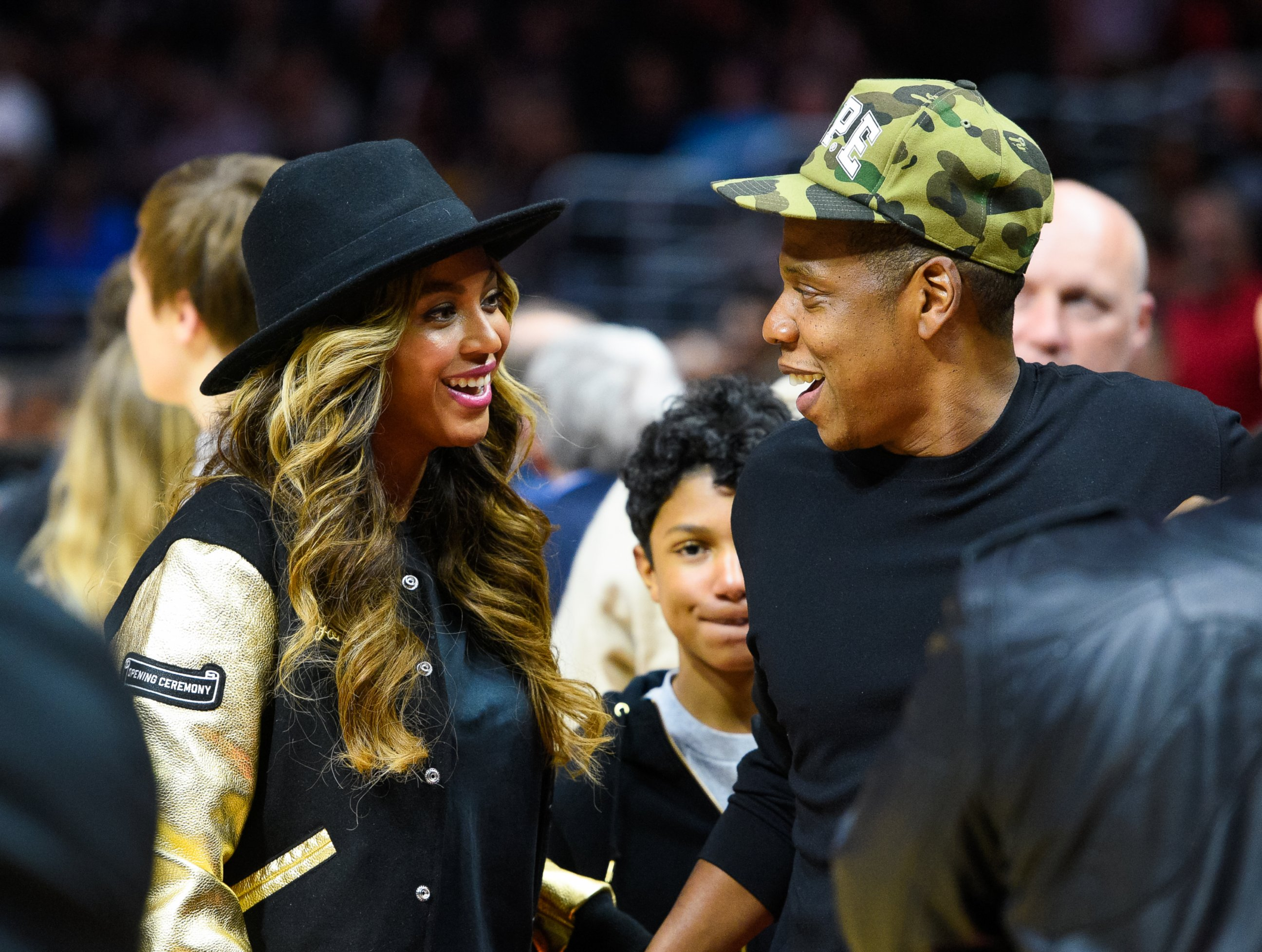 Beyonce and Jay Z Share a Laugh Amid Baby Rumors