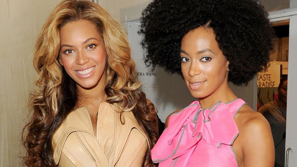 PHOTO: Singers Beyonce and Solange Knowles pose backstage at the Vera Wang Spring 2012 fashion show, Sept. 13, 2011, in New York City.