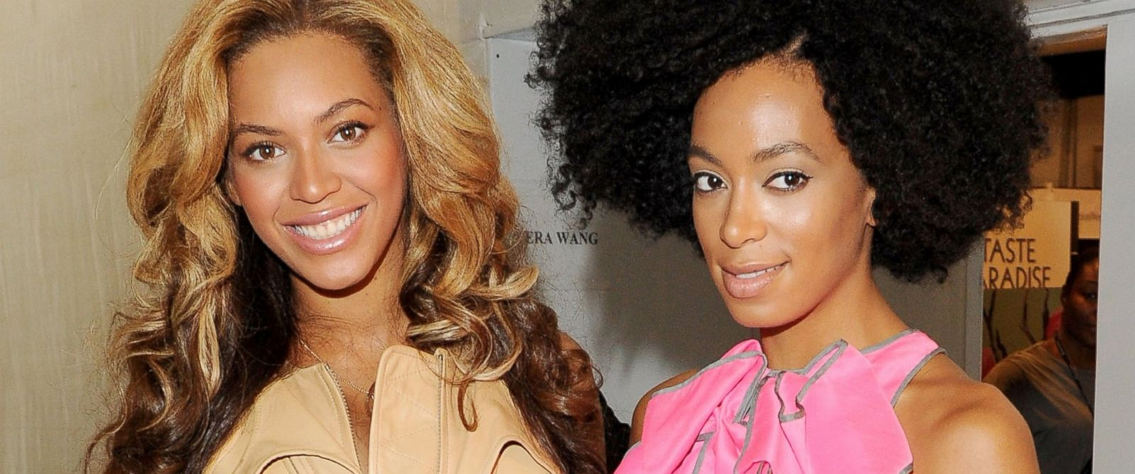 Singers Beyoncé and Solange Knowles pose backstage at the Vera Wang Spring 2012 fashion show, Sept. 13, 2011, in New York City.