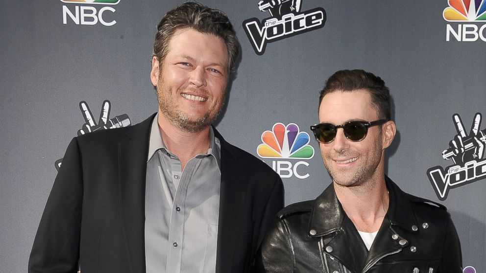 "PHOTO: Blake Shelton and Adam Levine attend NBCs ""The Voice"" red carpet event at The Sayers Club, April 3, 2014 in Hollywood, Calif."