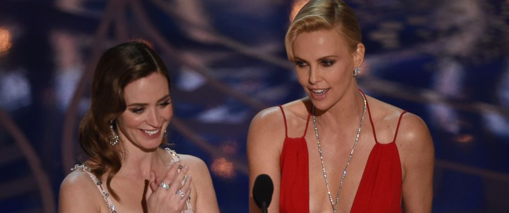 PHOTO: Emily Blunt and Charlize Theron present on stage at the 88th Oscars, Feb. 28, 2016, in Hollywood, California.