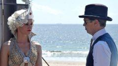 "Steve Buscemi and Rachel Kenney Shoot Boardwalk Empire"" in NYC"