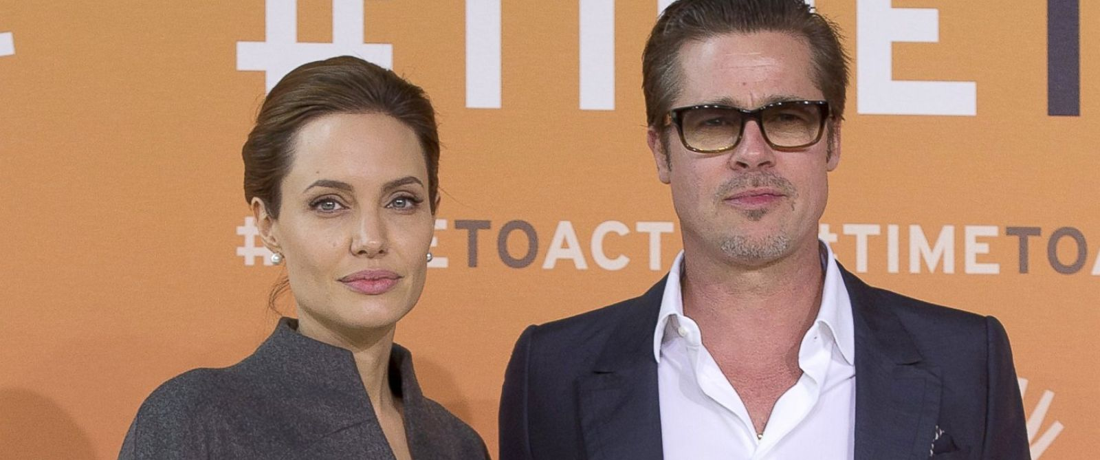 PHOTO: Angelina Jolie and Brad Pitt arrive at the Global Summit to End Sexual Violence in Conflict in London, June 13, 2014.