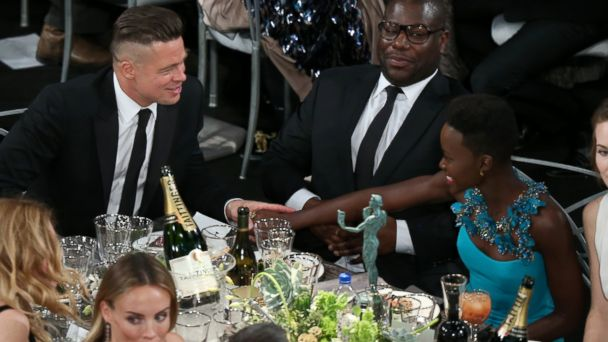 PHOTO: Brad Pitt, Steve McQueen and actress Lupita Nyongo attend the 20th Annual SAG Awards, Jan. 18, 2014, in Los Angeles.